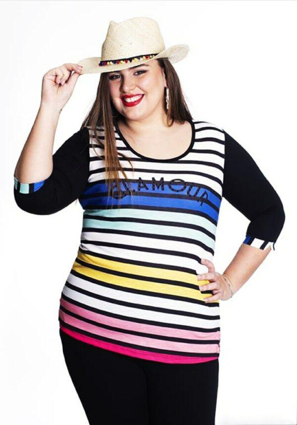 Camiseta rayas para mujer en tallas grandes