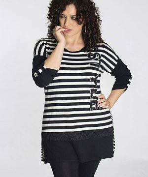 Camiseta larga tallas grandes rayas para mujer