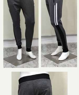 Pantalón chándal gris con rayas blancas cremalleras en los bolsillos