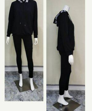 Sudadera capucha cintas negra para mujer