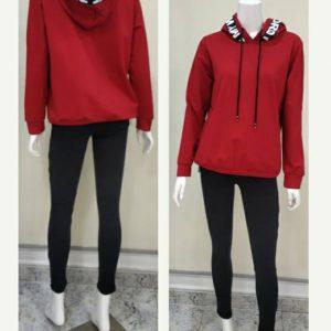 Sudadera capucha cintas roja para mujer