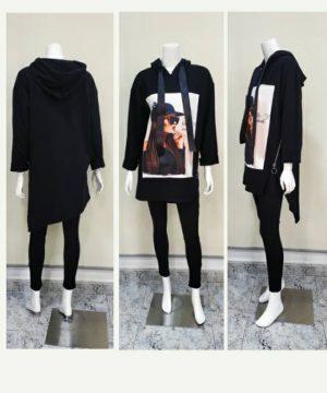 Sudadera larga picos con capucha negra para mujer