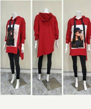 Sudadera larga picos con capucha roja para mujer