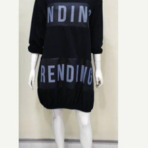 Vestido algodón negro manga larga con mensaje polipiel