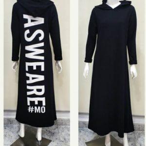 Vestido largo capucha negro mensaje en la espalda