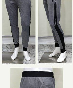 Pantalón chándal gris claro raya negra con cremallera en los bolsillos para hombre