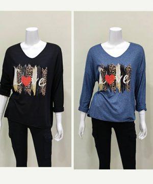 Jersey fino LOVE negro y azul para mujer