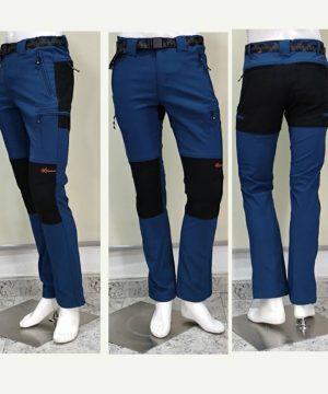 Pantalón montaña y trekking azul cobalto 6 bolsillos con cremalleras para hombre