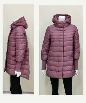Parka rosa con manga punto y capucha desmontable para mujer