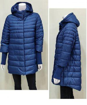 Abrigo azulón oversize con capucha para mujer