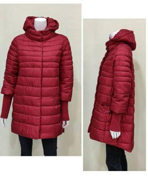 Abrigo oversize con capucha desmontable granate para mujer