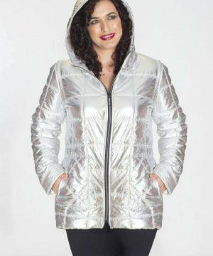 Abrigo plata tallas grandes para mujer_