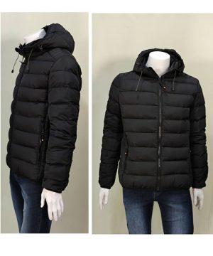 Cazadora negra capucha desmontable para hombre