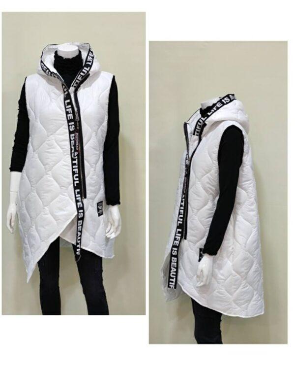 Chaleco blanco largo con capucha para mujer