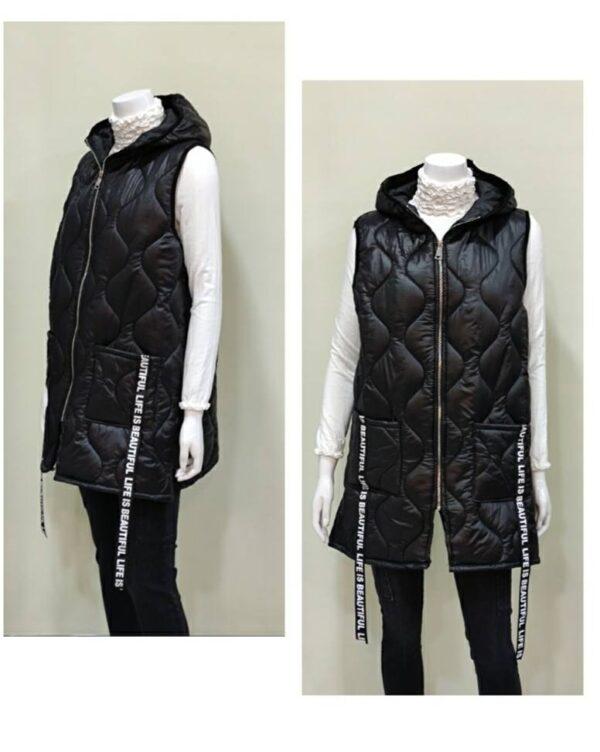 Chaleco capucha negro con capucha para mujer
