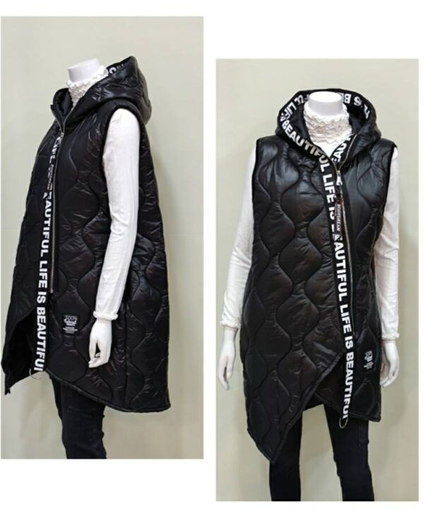 Chaleco negro largo con capucha para mujer