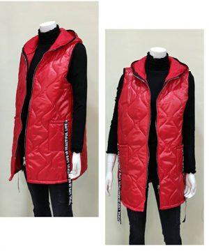 Chaleco rojo con capucha para mujer