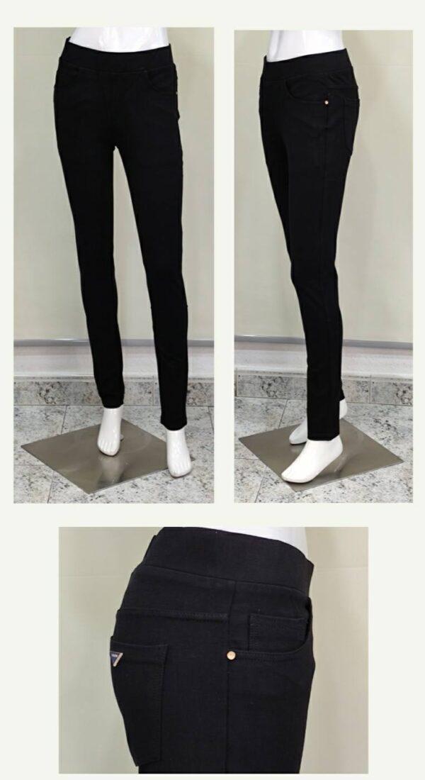 Pantalón 5 bolsillos goma en la cintura pitillo para mujer