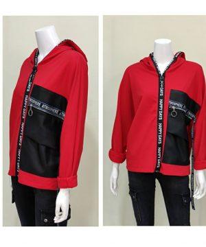 Sudadera oversize capucha roja con polipiel para mujer