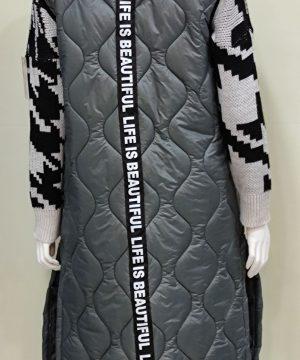 Comprar chaleco acolchado largo gris cinta para mujer