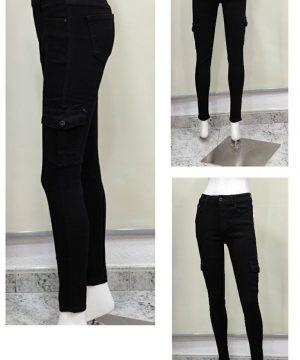 Pantalón negro bolsillos laterales mujer