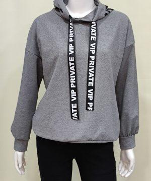 Sudadera capucha gris mujer