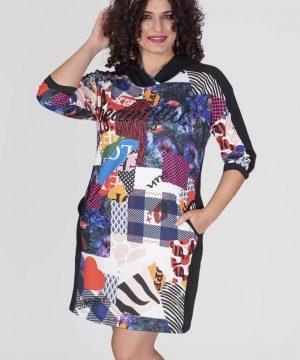 Mini-vestido capucha tallas grandes Censured para mujer