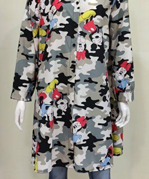 Camisa larga Mickey y Minnie camuflaje mujer
