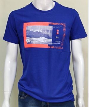 Camiseta manga corta azul vivo hombre