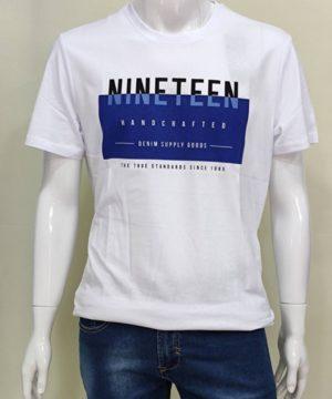 Camiseta manga cota hombre Camiseta con texto de manga corta para hombre Cuello redondo. Composición: 100% algodón