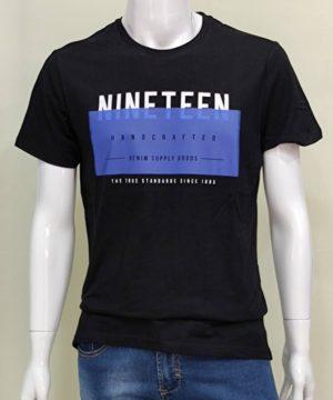 Camiseta manga corta negra hombre