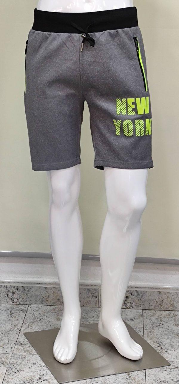 Pantalón chándal corto bolsillos cierre cremalleras new York