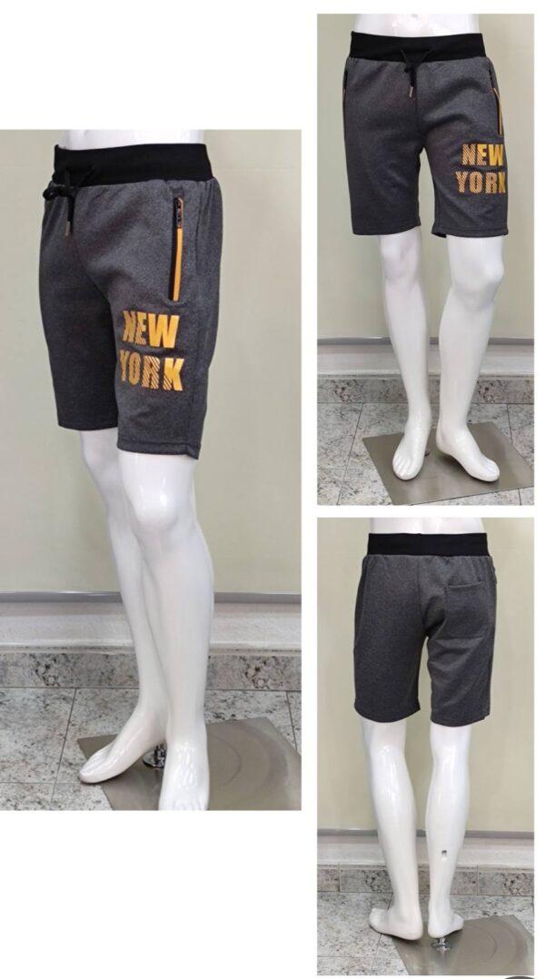 Pantalón chándal corto bolsillos con cremalleras new York hombre