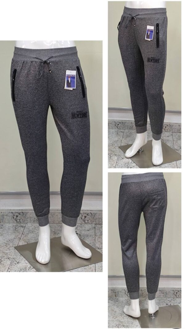 Pantalón chándal gris bolsillos cremalleras new York hombre
