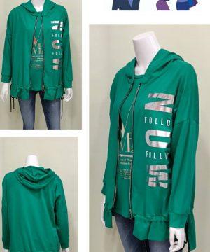 Sudadera capucha con cremallera verde prado mujer