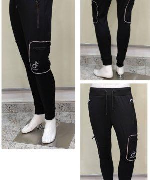 pantalón chándal con 4 bolsillos cremalleras negro hombre