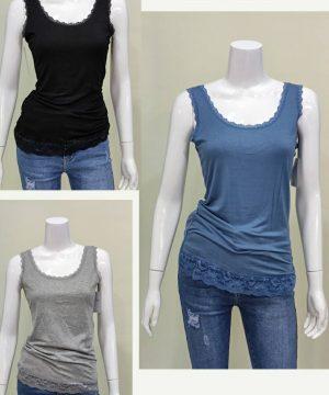 Camiseta básica tirante encaje mujer