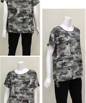 Camiseta manga corta cuello redondo camuflaje mujer