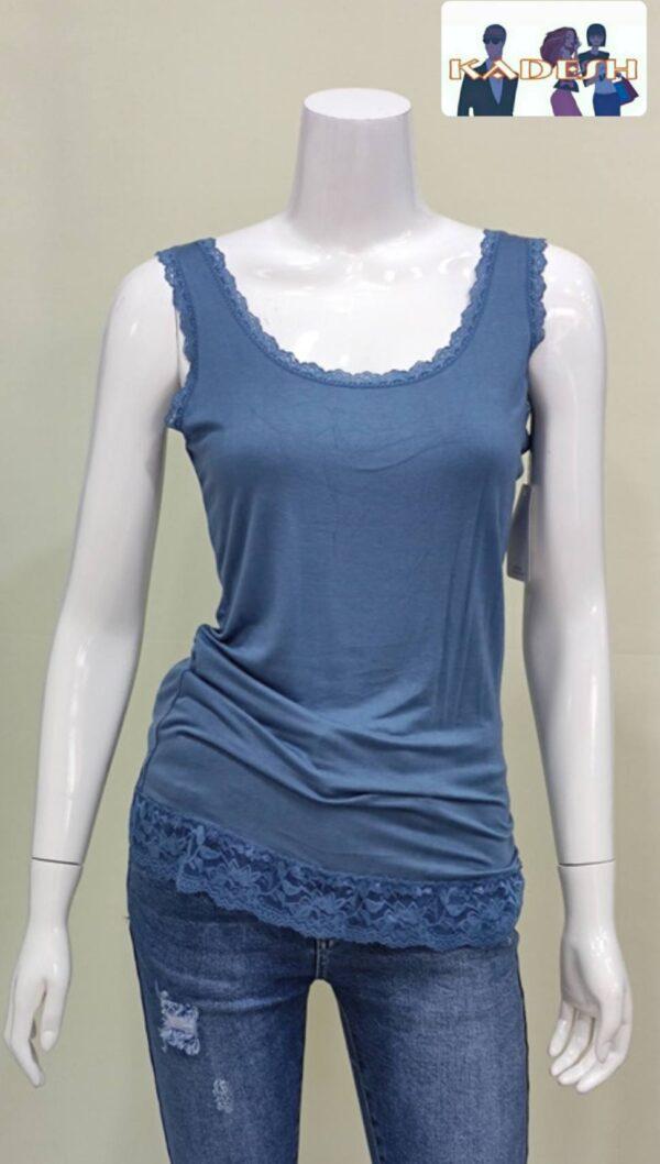 Camiseta tirante encaje azulón mujer
