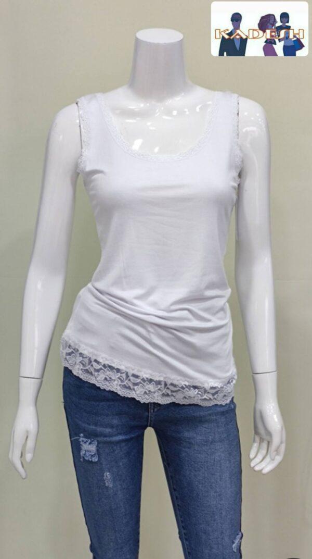 Camiseta tirante encaje blanca mujer