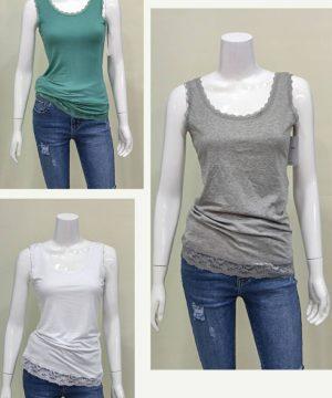 Camiseta tirante encaje mujer