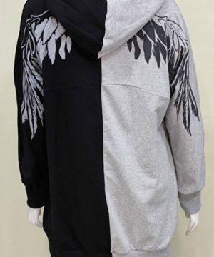 Sudadera capucha gris y negro mujer