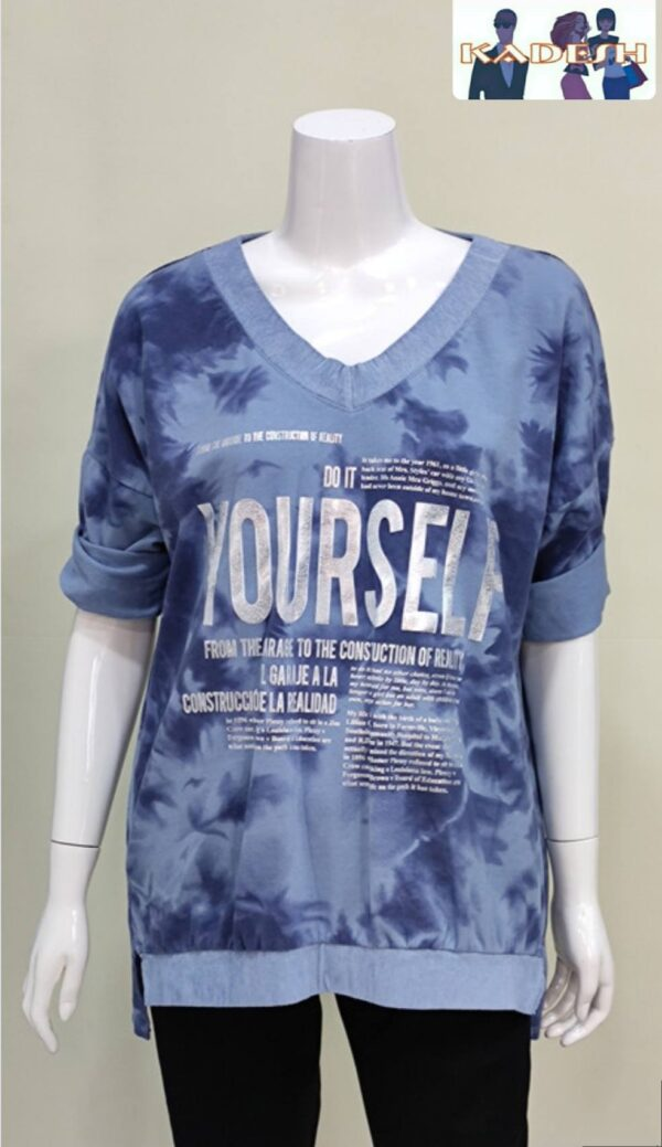 camiseta pico azul mujer