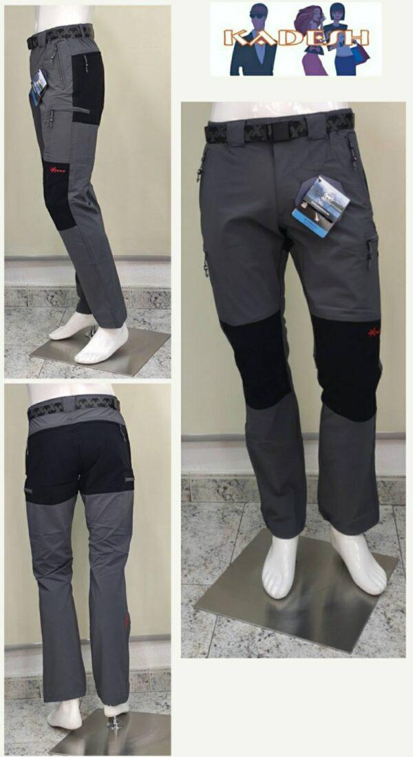 pantalón trekking fino elástico gris 6 bolsillos hombre